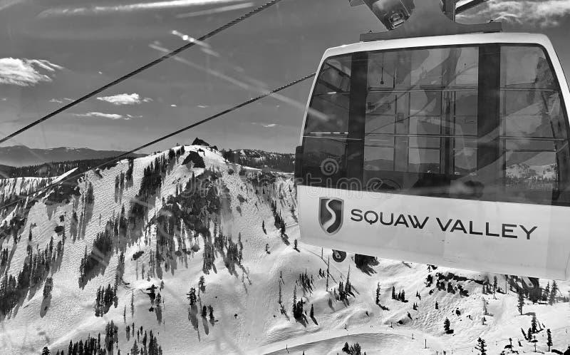 Tram bij de skitoevlucht van de Squawvallei royalty-vrije stock afbeelding