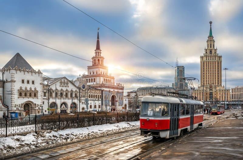 Tram bij Kazansky-station royalty-vrije stock afbeeldingen