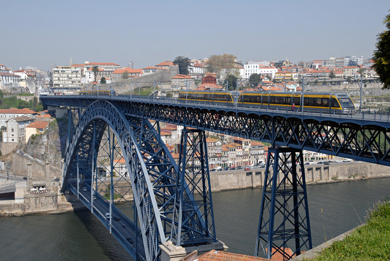 Tram on the bridge. Porto. stock photo