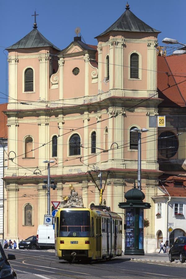 Tram in a busy street in Bratislava - Slovakia royalty free stock photo
