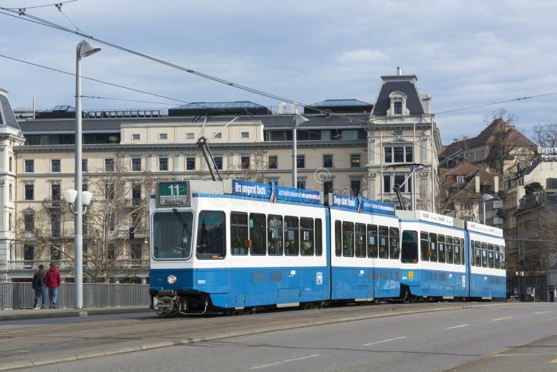 Tram car on bridge Zurich. Tram car on the bridge Quaibrucke in Zurich, Switzerland stock images