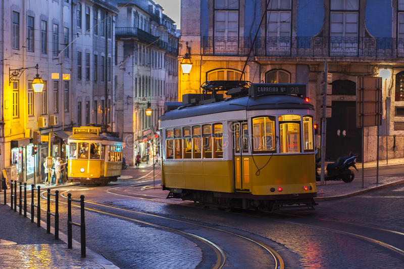 Tram car on street at evening in Lisbon, Portugal royalty free stock image
