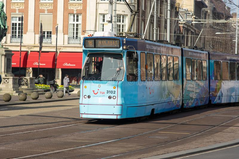Tram in the city center of the Hague stock photography