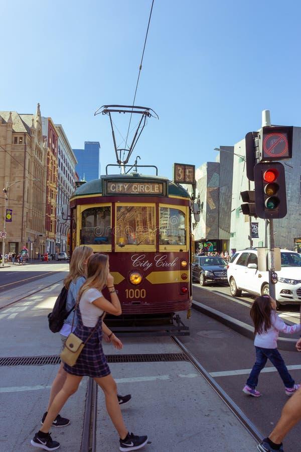 Tram d'annata della città fotografia stock
