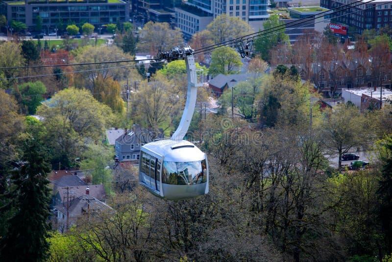 Tram d'antenne de Portland photographie stock