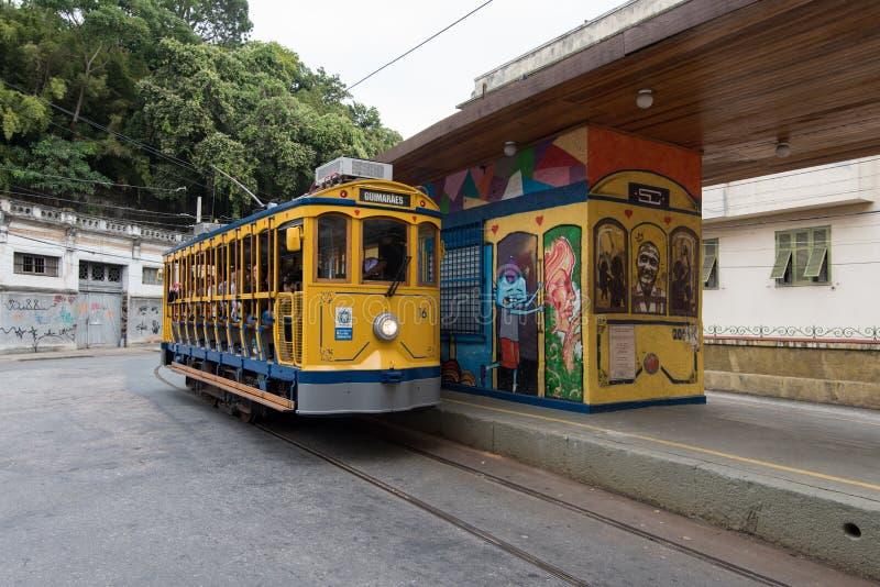 Tram de Classim de Santa Teresa en Rio de Janeiro, Brésil photo stock