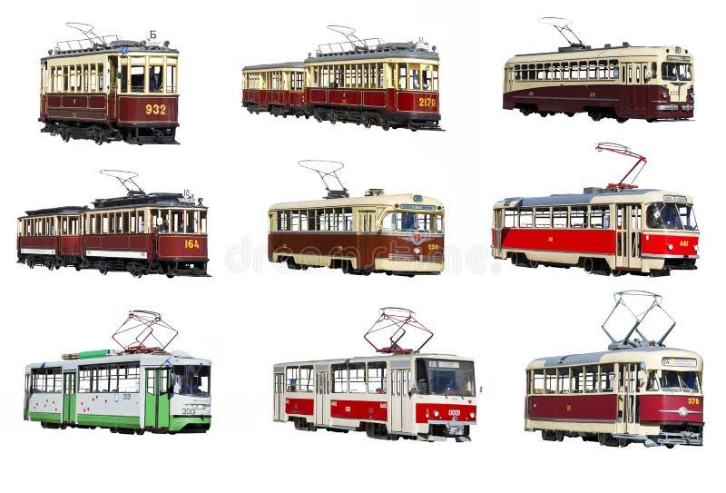 Tram de Moscou sur un fond blanc photos stock