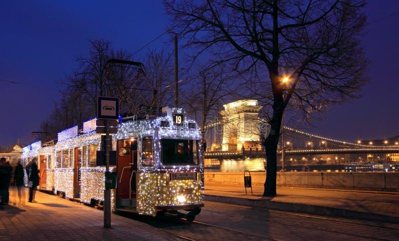 Tram de Noël à Budapest photos libres de droits
