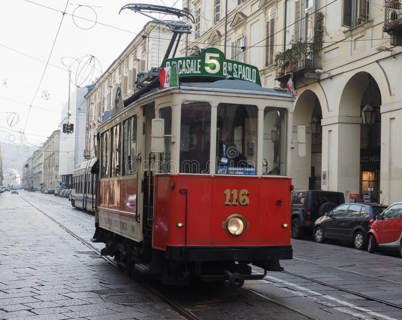 Tram der Weinlese 116 am Turin-Laufkatzen-Festival lizenzfreie stockbilder