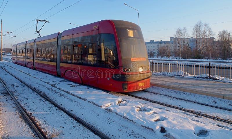 Tram di inverno immagine stock