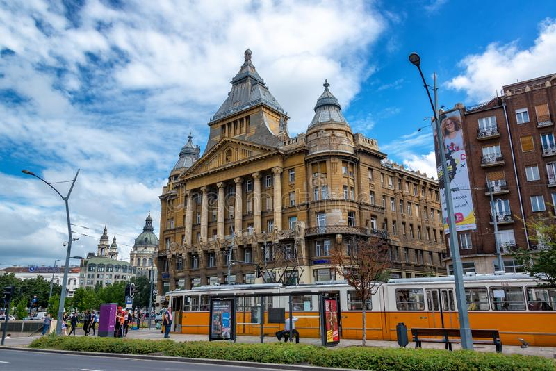 Tram in Downtown Budapest, Hungary stock image