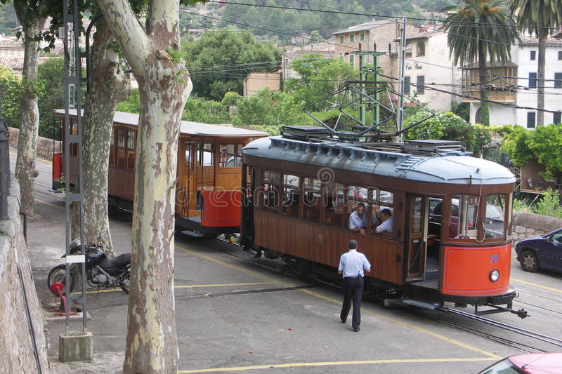 Tram and Drivers Soller Mallorca royalty free stock images