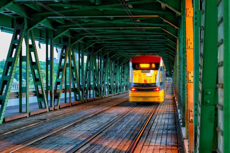 Tram on Gdanski Bridge in Warsaw. Tram on Gdanski Bridge in city of Warsaw in Poland stock images