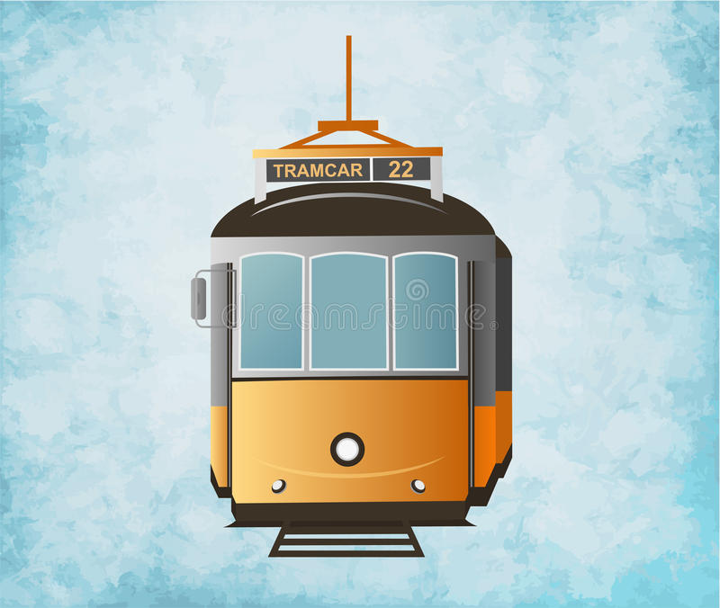 Tram giallo numero 22 Illustrazione di vettore Front View immagini stock
