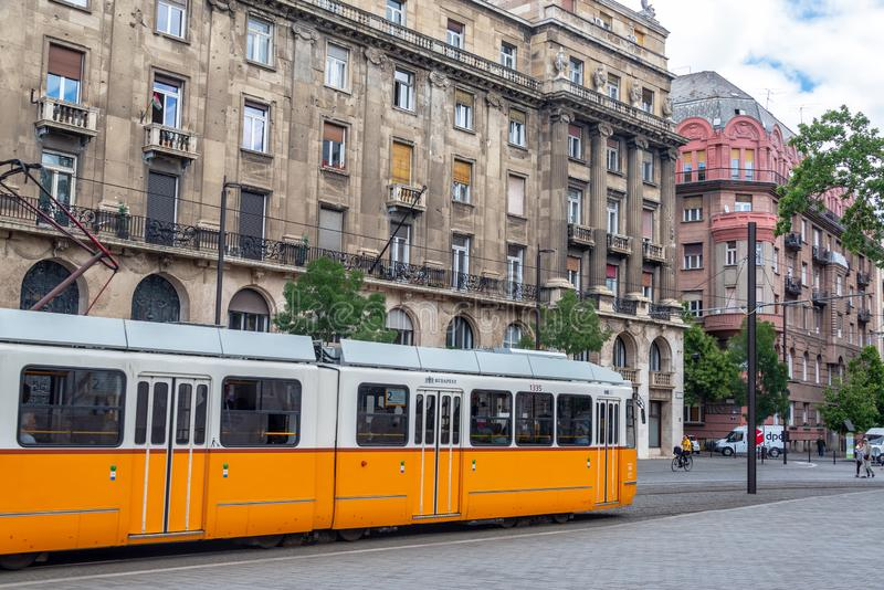 Tram in Historic Budapest, Hungary royalty free stock images