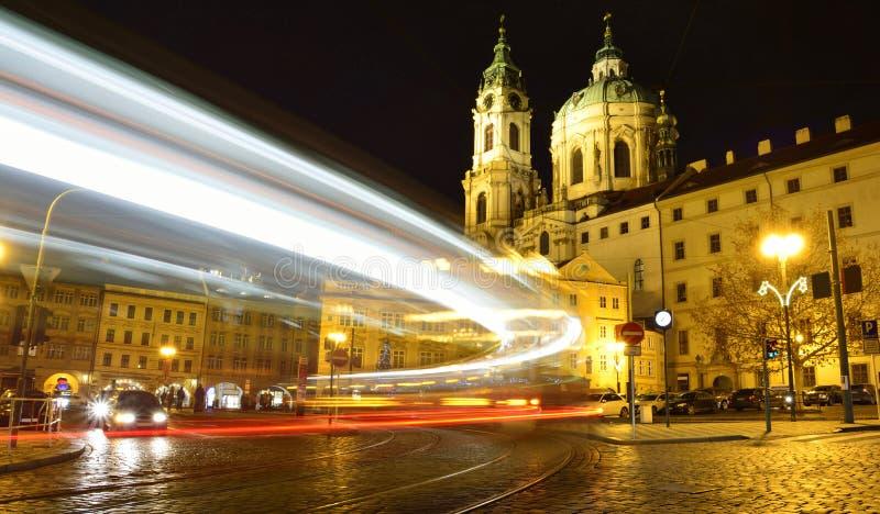 Tram in historical part of Prague, Czech Republic stock photography