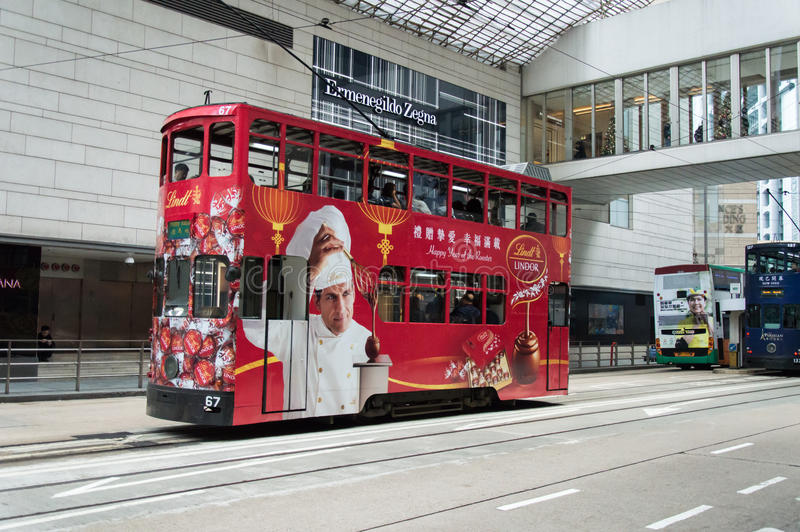 Tram in Hong Kong Island royalty free stock image