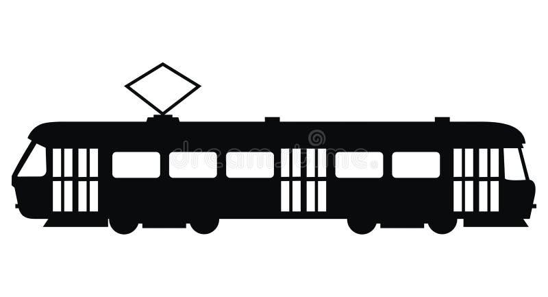 Tram, icona di vettore, siluetta nera illustrazione vettoriale