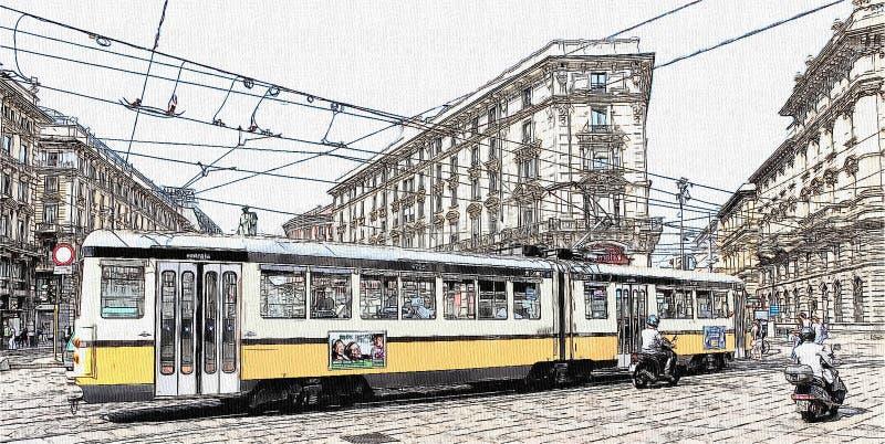 Tram langs het spoorwegspoor in Milaan de stad in, Italië royalty-vrije illustratie