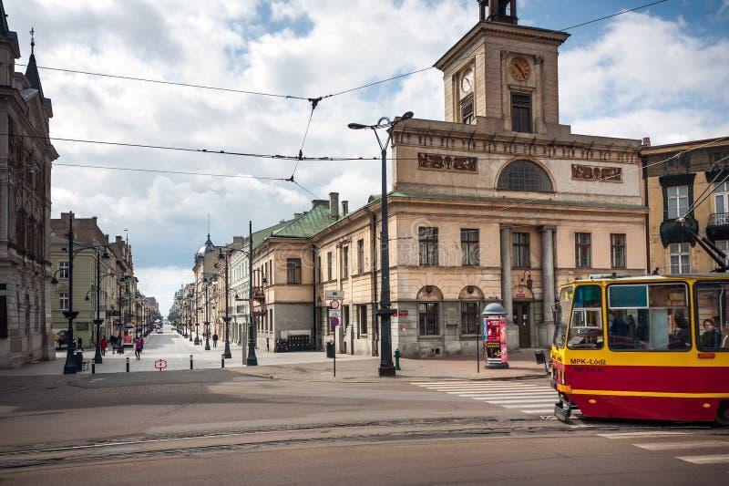 Tram a Liberty Square a Lodz, Polonia immagini stock libere da diritti