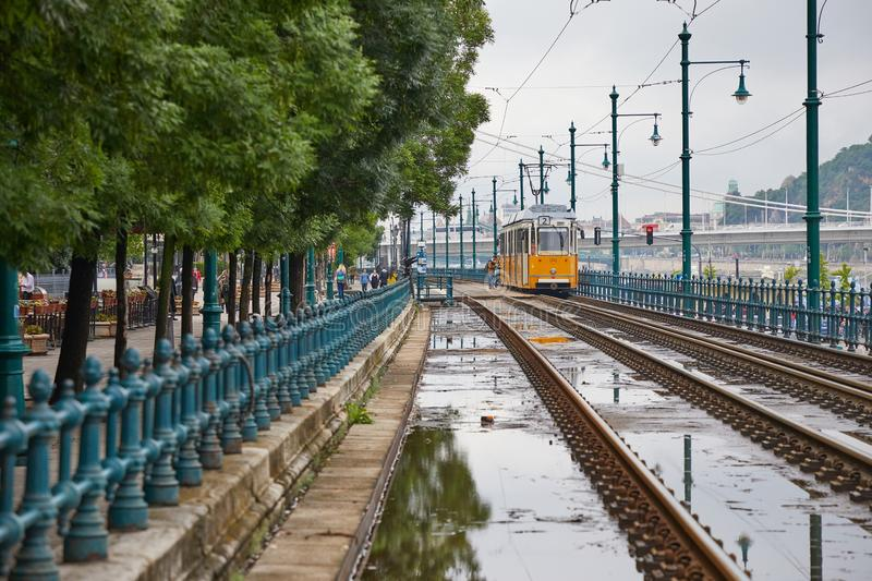 Tram line 2 in Budapest stock photography