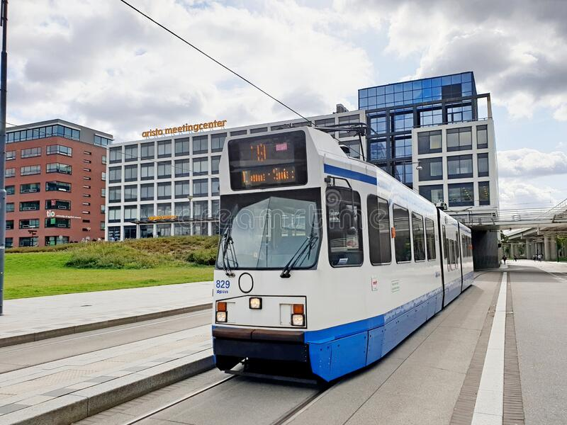 Tram 829 on line 19 at start point on train station Amsterdam Sloterdijk royalty free stock photos