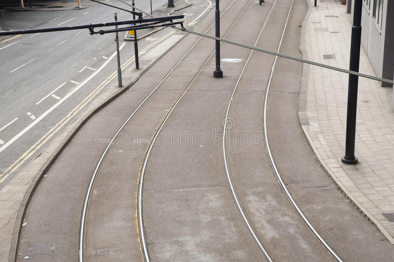 Tram Lines on Street stock images