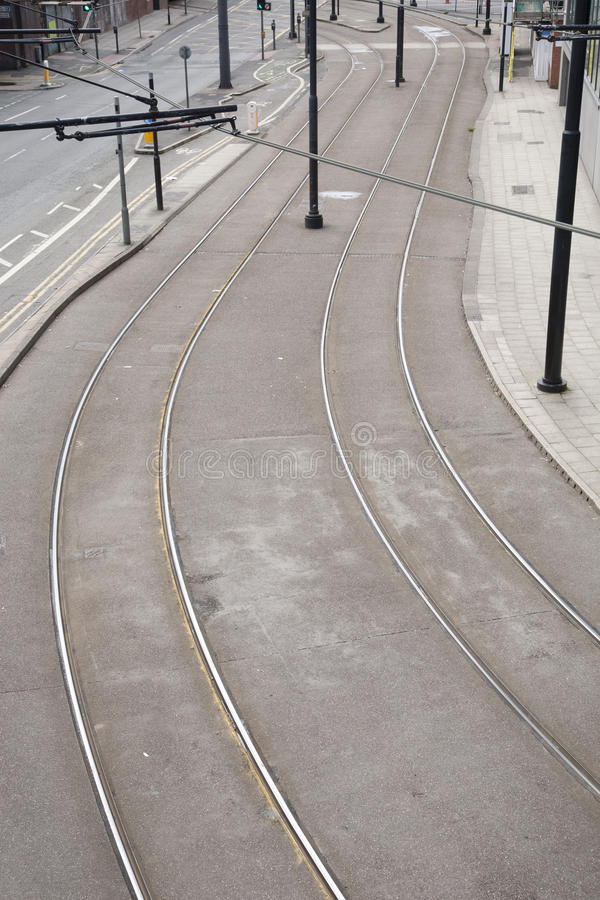 Tram Lines on Street stock photography