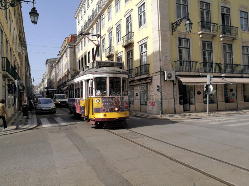 Tram in Lisbon city Portugal royalty free stock images
