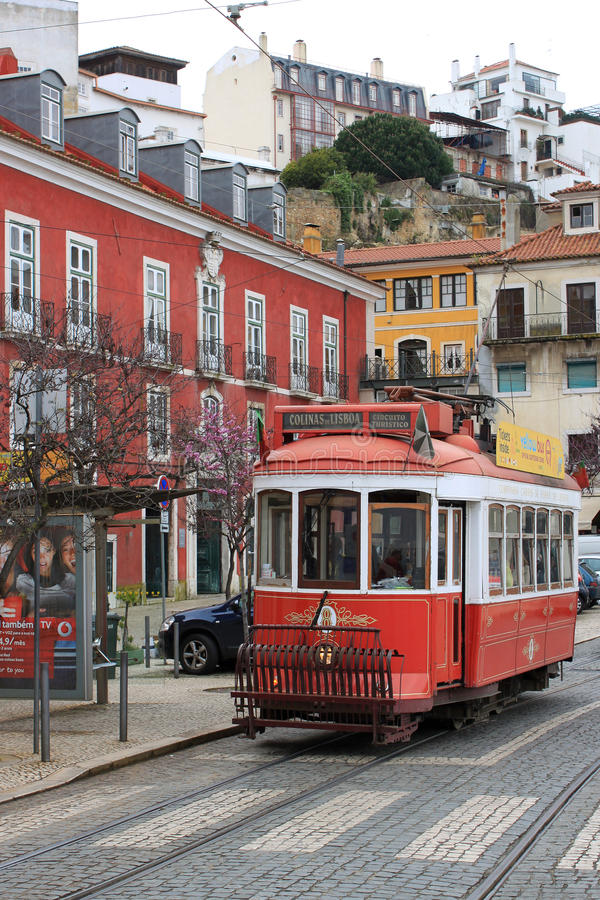 Tram in Lisbon, Portugal royalty free stock photo
