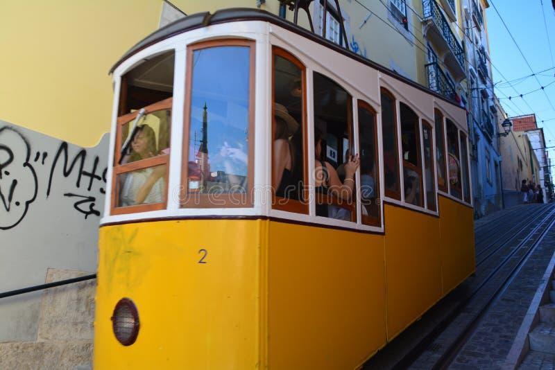 Tram Lisbona Portogallo di Bica fotografia stock