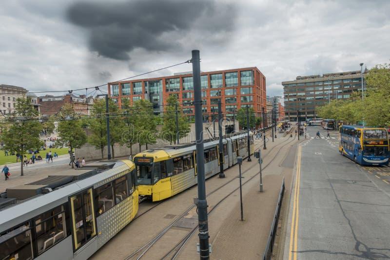 Tram Manchesters Metrolink stockbilder