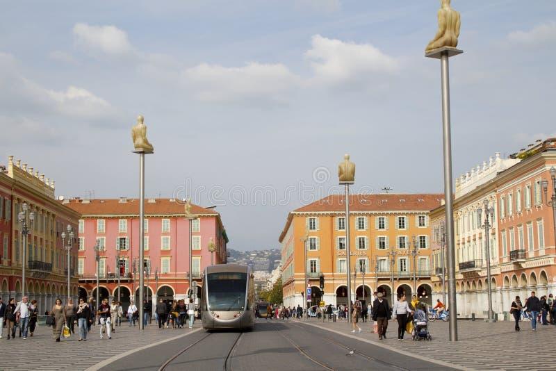 Tram Masséna en place image stock