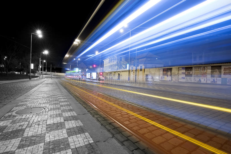 Tram in motion blur in Prague. Czech Republic PRAGUE CZECH REPUBLIC - December 30: Tram at old street in Prague, Czech Republic on December 30, 2015. tram in stock image