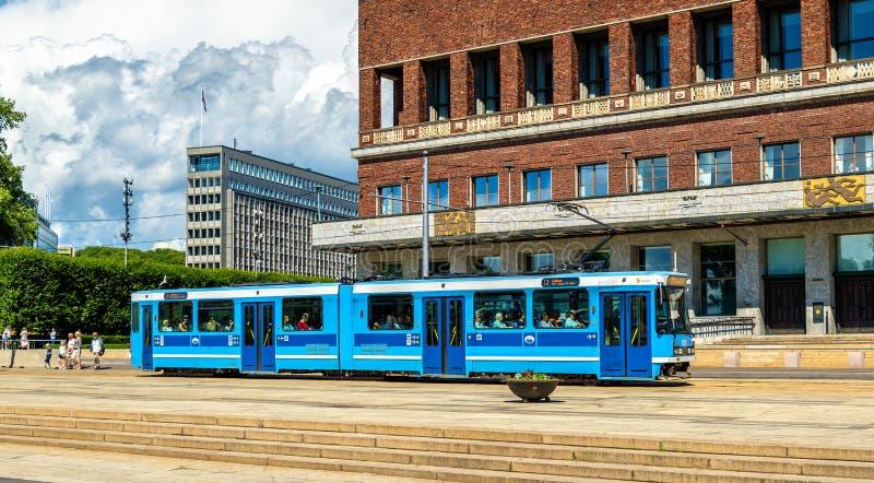Tram near the city hall of Oslo stock photo