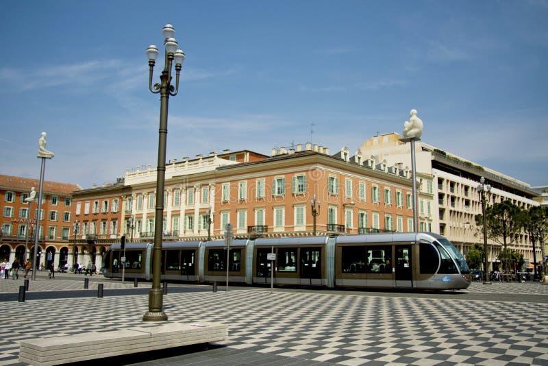 Tram in Nice stock afbeeldingen