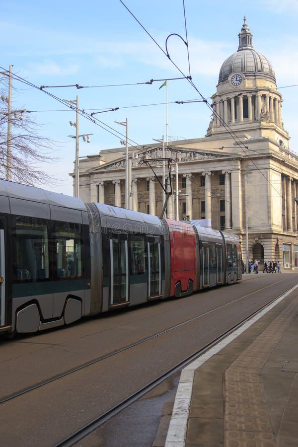 Tram in Nottingham stockbilder