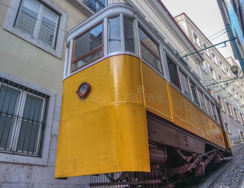 Tram oder Lavra Funicular und Elevador, Lissabon, Portugal stockbild