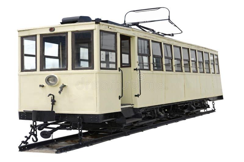 Tram op witte achtergrond stock foto's