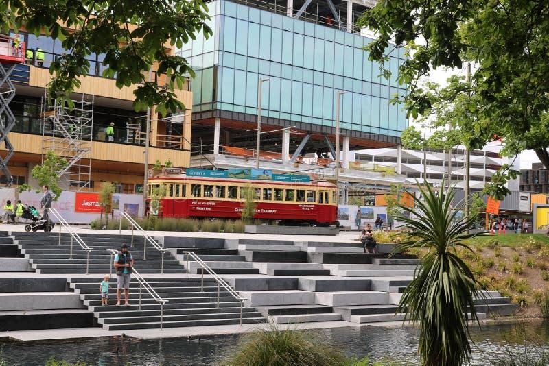 Tram, Oxford Terrace, Christchurch by Avon River stock image