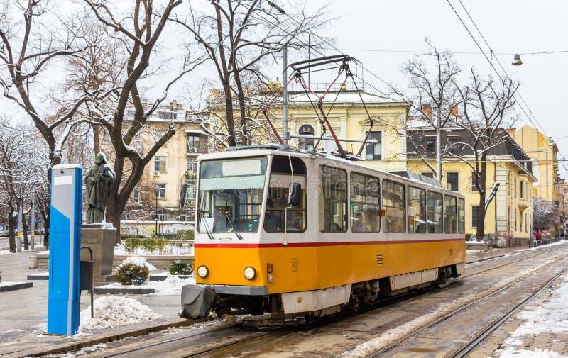 Tram an Patriarch Evtimiy-Quadrat in Sofia stockbild
