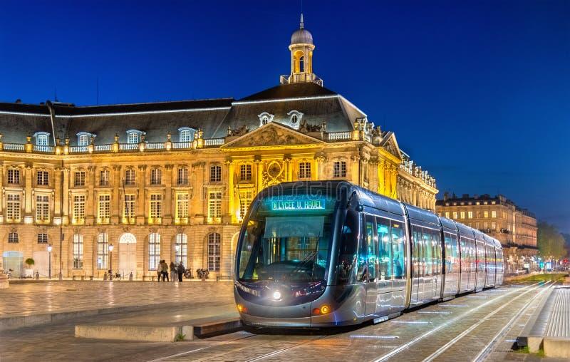 Tram on Place de la Bourse in Bordeaux, France stock photos