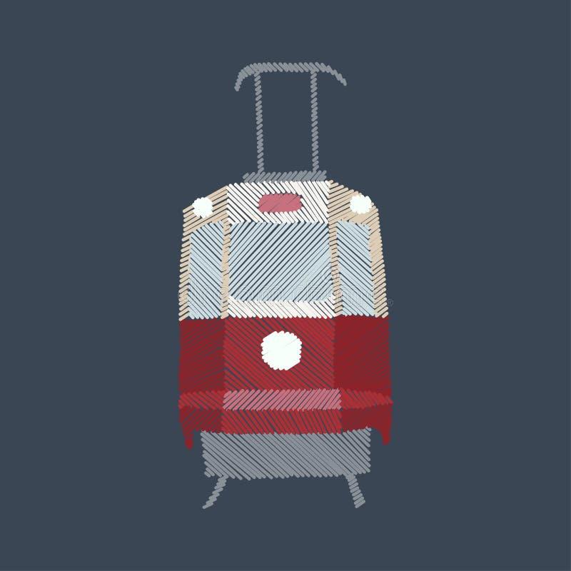 Tram, point de satin ou broderie de point de damassé, métier numérique illustration stock