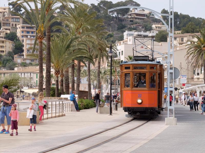 Tram in Port DE Soller, Mallorca, Spanje royalty-vrije stock foto
