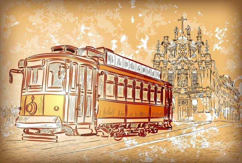 Tram in Porto, Portugal stock abbildung