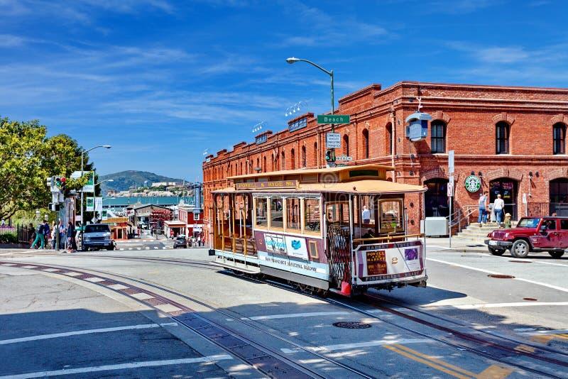 Tram Powell-Hyde, San Francisco, Stati Uniti della cabina di funivia fotografia stock libera da diritti