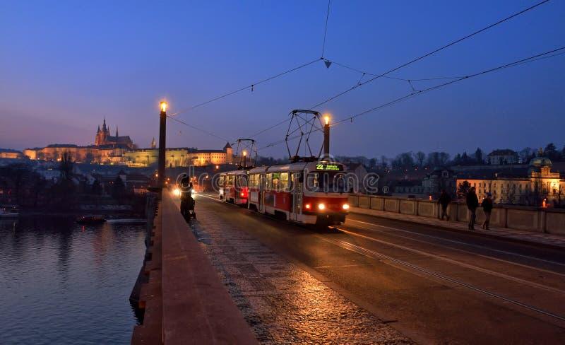 Tram in Praag royalty-vrije stock foto's