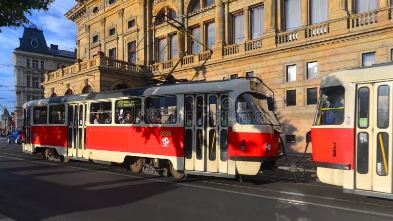 Tram in Praag stock foto