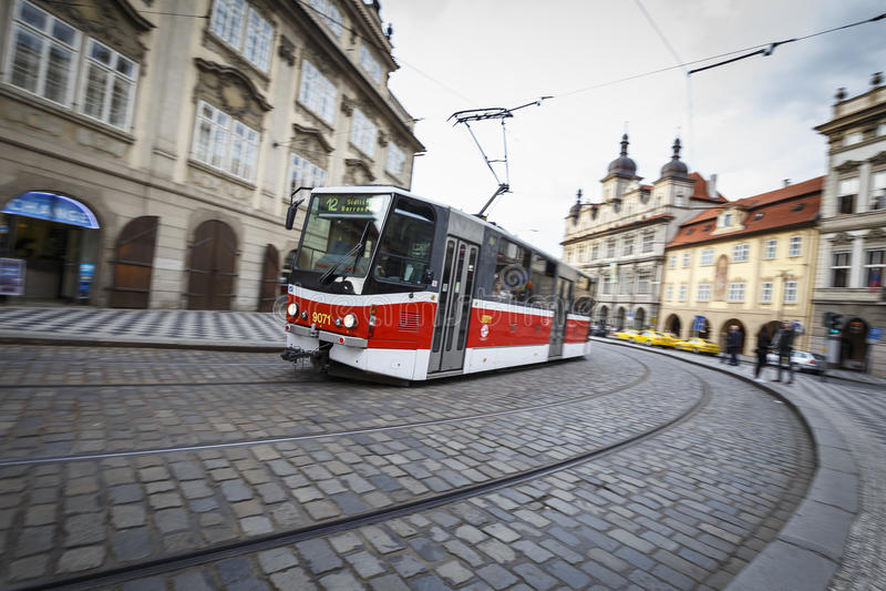 Tram in Praag, Tsjechische Republiek royalty-vrije stock foto's