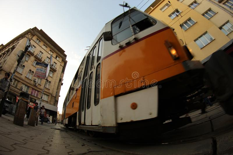 Tram Public Transport Shot Fisheye View Urban City Sofia Bulgaria. royalty free stock photo